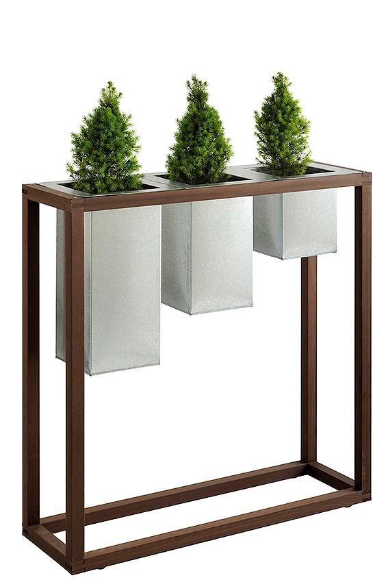 jardinière acier avec support bois-1006x31x1015-cm