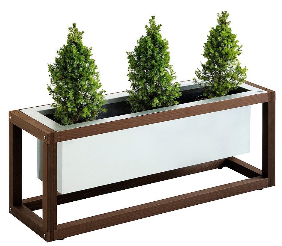 jardiniere acier avec support bois 1006 x 31 x 396 cm