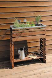 jardiniere bois rectangle sur pieds ligne z 80