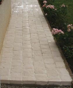 pavé pierre reconstituée 6 cm ocre